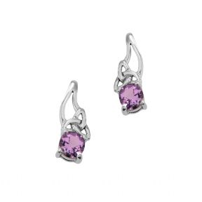 Celtic Silver Drop Earrings with Amethyst 9267